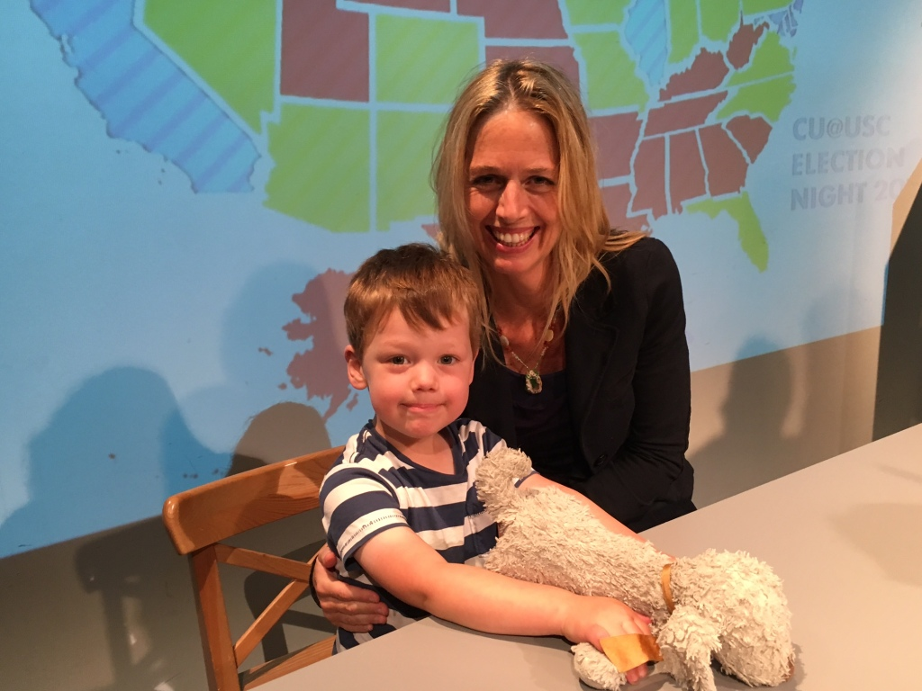 Bodhi and Mommy on set at USC TV.