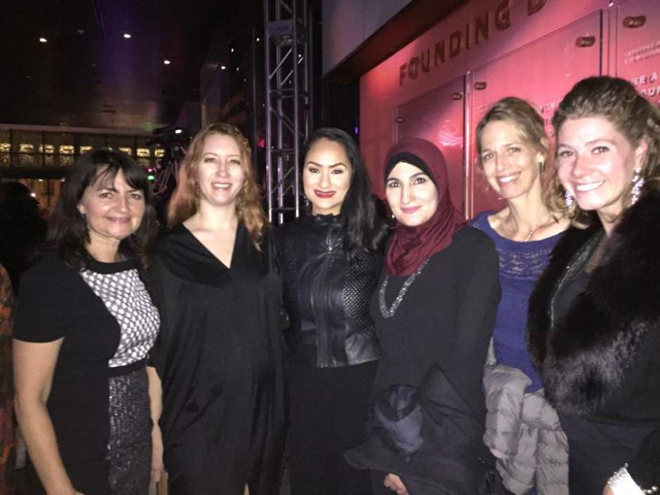 My Take The Lead Colleagues, Elisa Parker (L) and Kaitlin Rattigan (R), and I met with the Women's March on Washington National Co-Chairs at the Peace Ball. From (l) to (r): Bob Bland, Carmen Perez, and Linda Sarsour. Missing from the photo is Tamika Mallory.